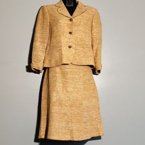 Sparkly Heathered Gold Silk Skirt Suit